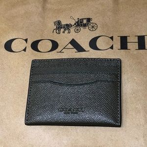 Coach unisex Slim Crossgrain Leather Card Case